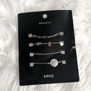 MANGO nwt multi layer gold tone bracelet set